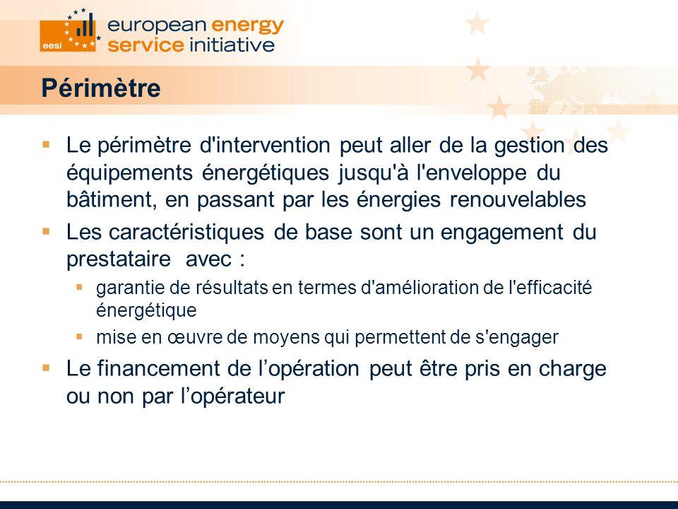 Périmètre Le périmètre d'intervention peut aller de la gestion des équipements énergétiques jusqu'à l'enveloppe du bâtiment, en passant par les énergi