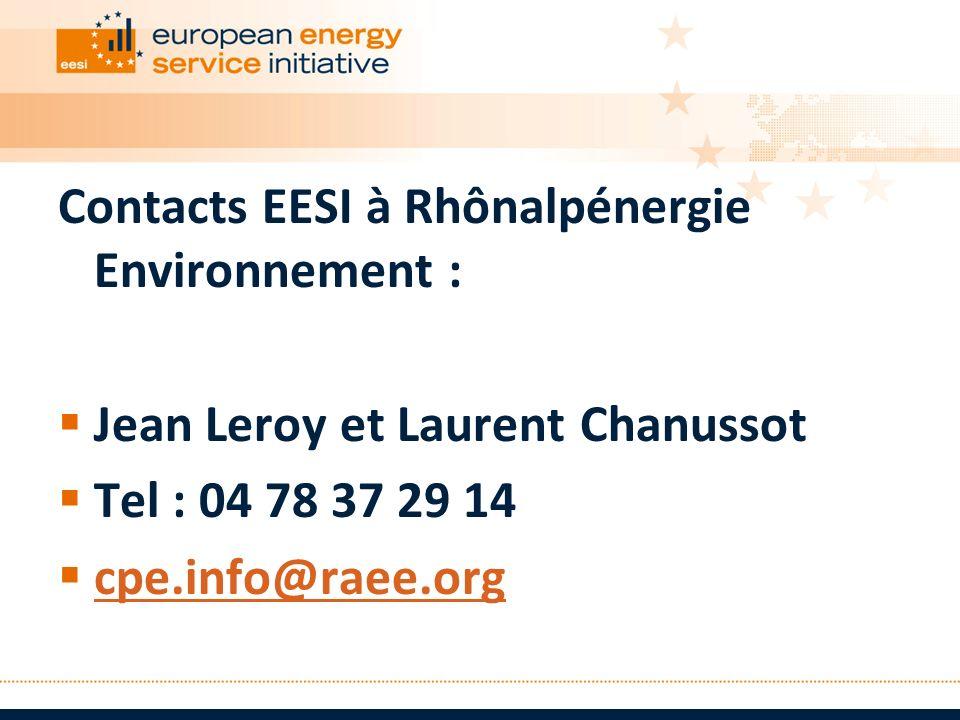 Contacts EESI à Rhônalpénergie Environnement : Jean Leroy et Laurent Chanussot Tel : 04 78 37 29 14 cpe.info@raee.org