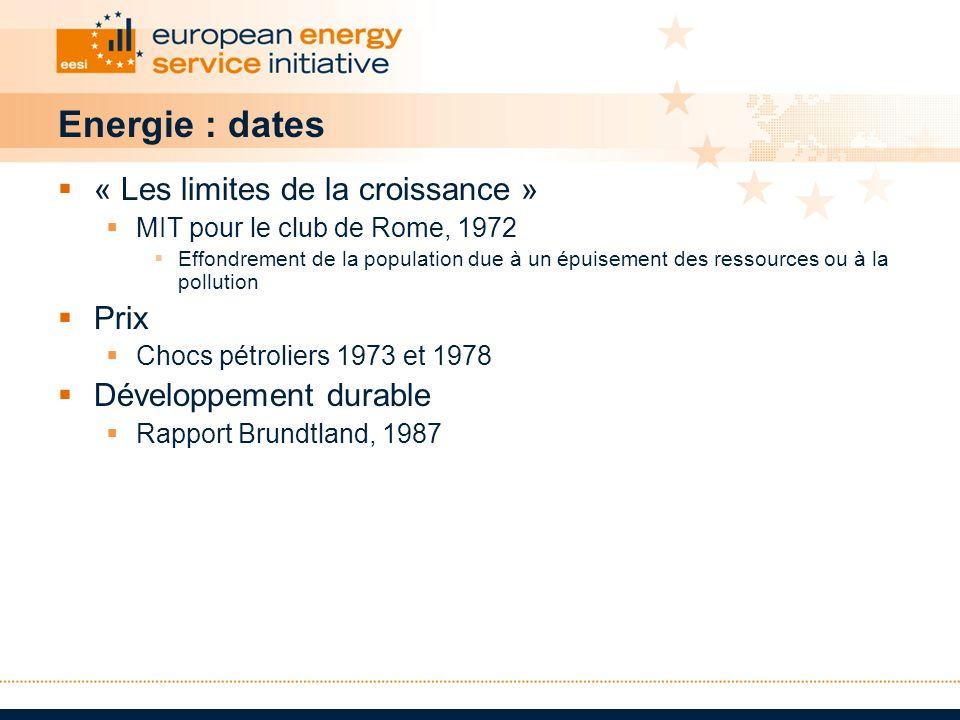 Energie : dates « Les limites de la croissance » MIT pour le club de Rome, 1972 Effondrement de la population due à un épuisement des ressources ou à
