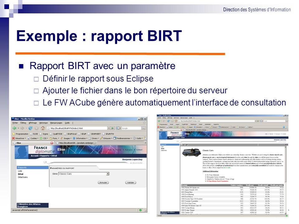Technologie Utilisation de BIRT Compatible ACube, en J2EE Développement en WYSIWYG sous Eclipse Connectivité : JDBC, fichiers plats etc. Rapports géné