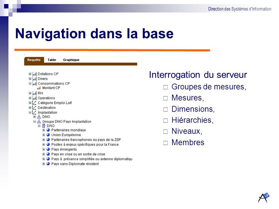 ACubeOLAP Client OLAP Navigation dans les bases de données multidimensionnelles Constitution de requêtes par glisser/déposer Affichage sous forme de g
