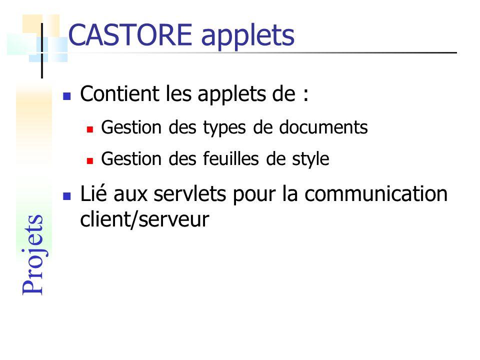CASTORE applets Contient les applets de : Gestion des types de documents Gestion des feuilles de style Lié aux servlets pour la communication client/s