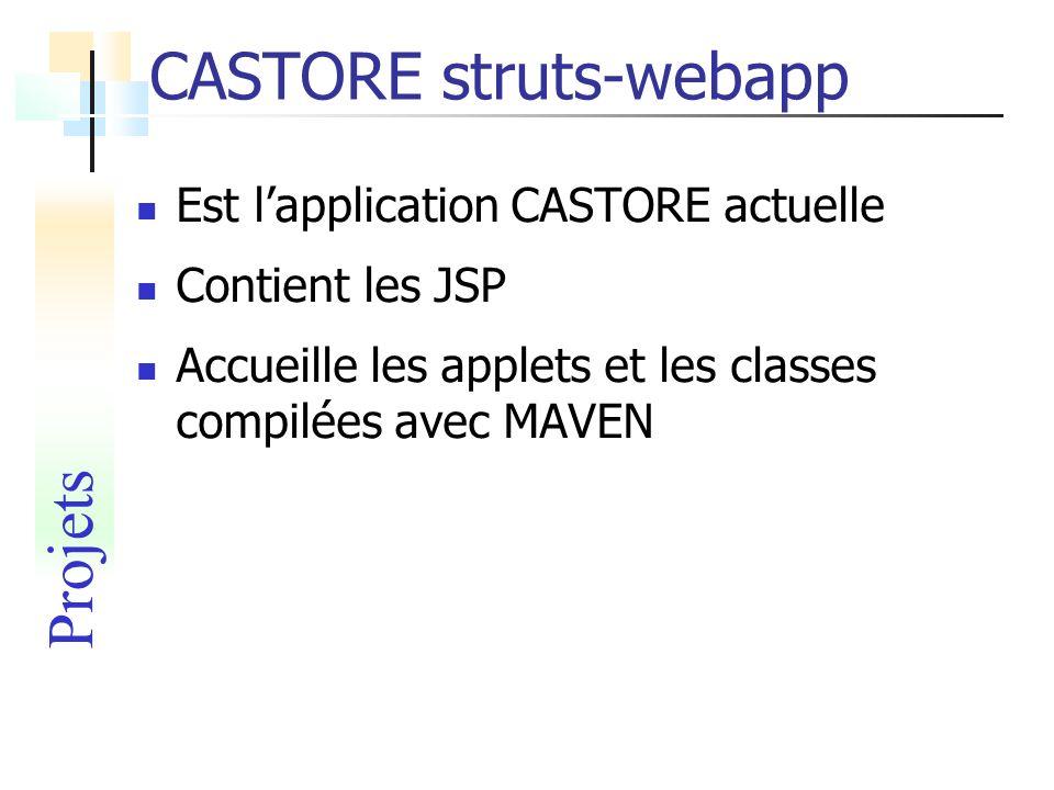 CASTORE struts-webapp Est lapplication CASTORE actuelle Contient les JSP Accueille les applets et les classes compilées avec MAVEN Projets