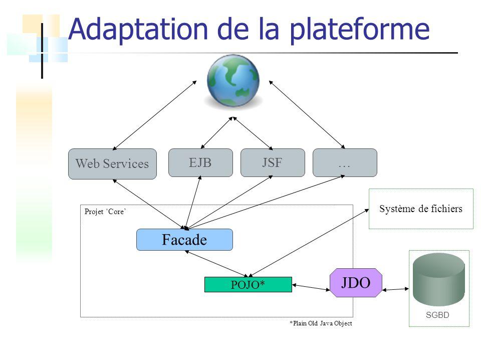 Adaptation de la plateforme SGBD Système de fichiers Projet Core Facade JDO POJO* *Plain Old Java Object Web Services EJBJSF…