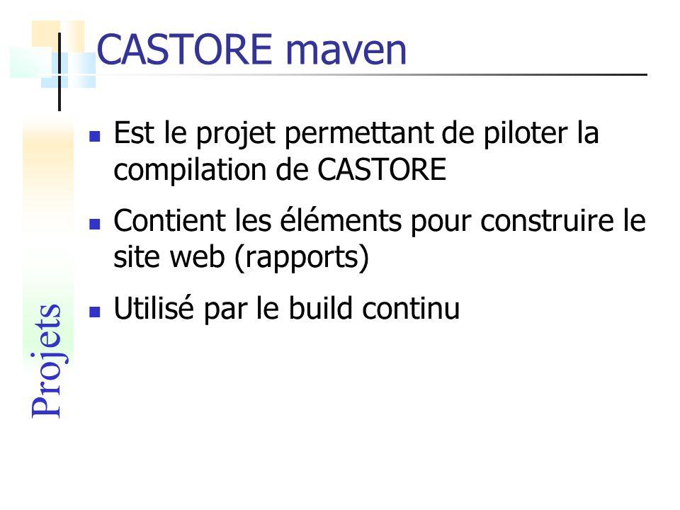 CASTORE maven Est le projet permettant de piloter la compilation de CASTORE Contient les éléments pour construire le site web (rapports) Utilisé par l