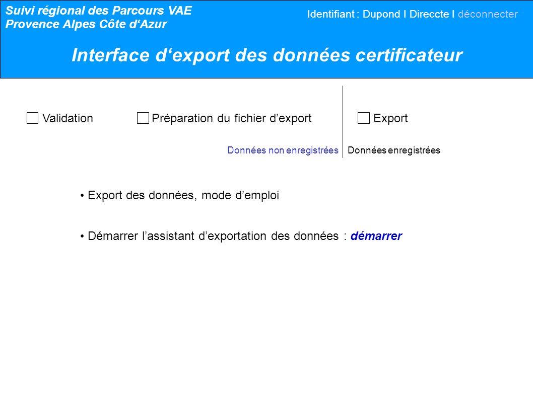 Validation Préparation du fichier dexport Export Données non enregistrées Données enregistrées Export des données, mode demploi Démarrer lassistant de