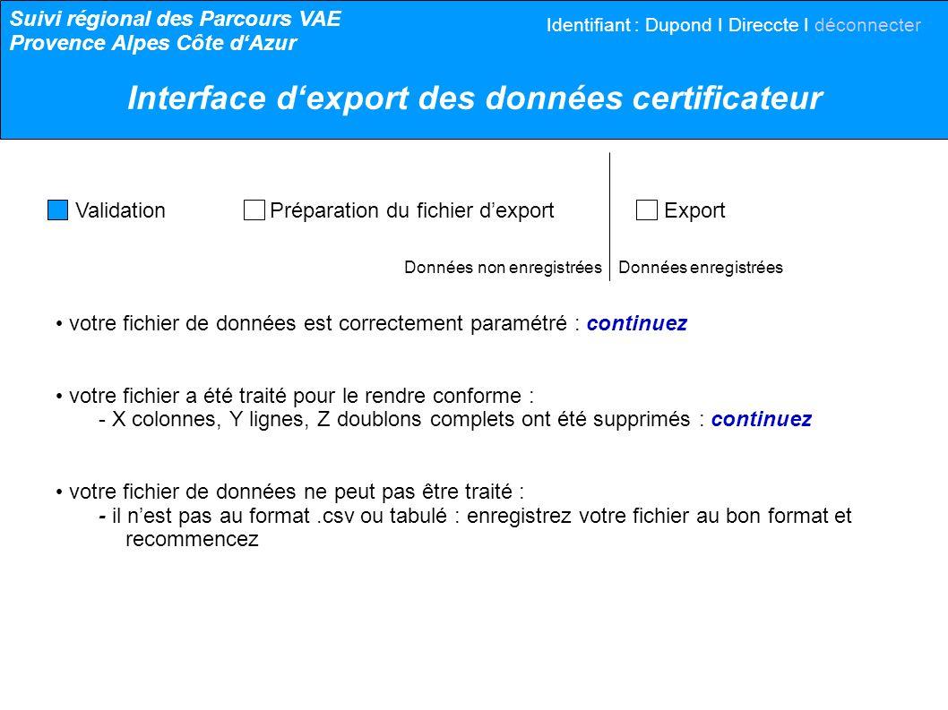 Données non enregistrées Données enregistrées votre fichier de données est correctement paramétré : continuez votre fichier a été traité pour le rendr