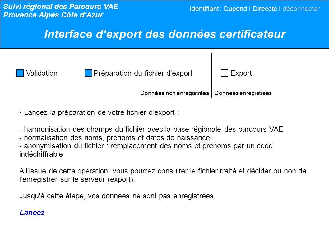 Données non enregistrées Données enregistrées Validation Préparation du fichier dexport Export Harmonisation des champs.....normalisation des valeurs..............anonymisation.........