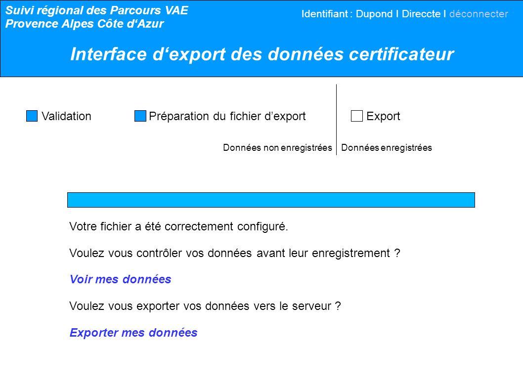 Données non enregistrées Données enregistrées Validation Préparation du fichier dexport Export Votre fichier a été correctement configuré. Voulez vous