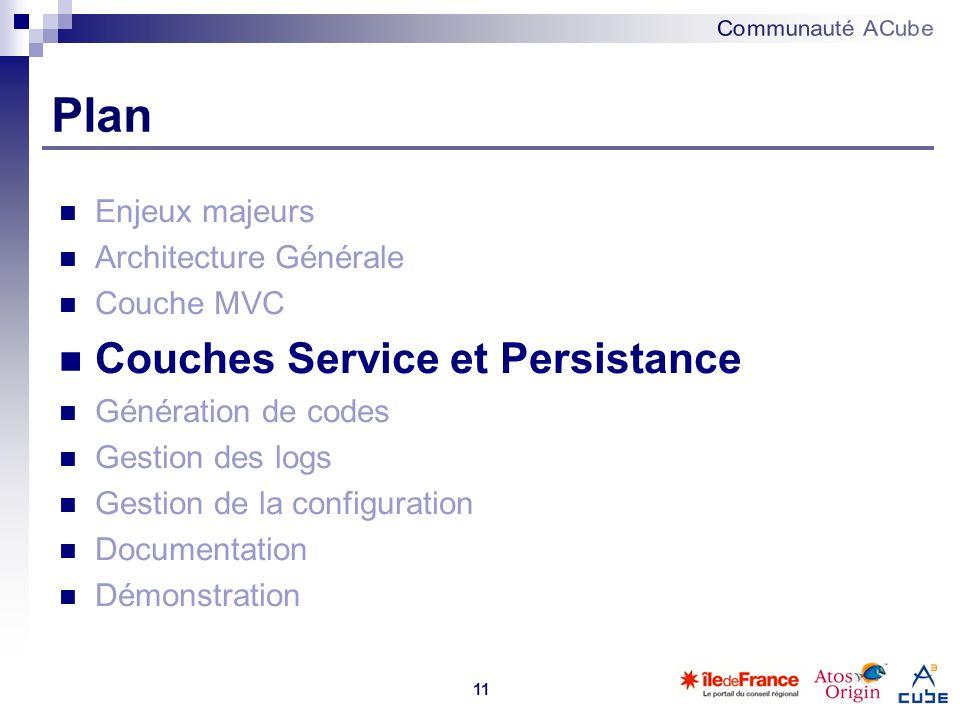 11 Plan Enjeux majeurs Architecture Générale Couche MVC Couches Service et Persistance Génération de codes Gestion des logs Gestion de la configuratio