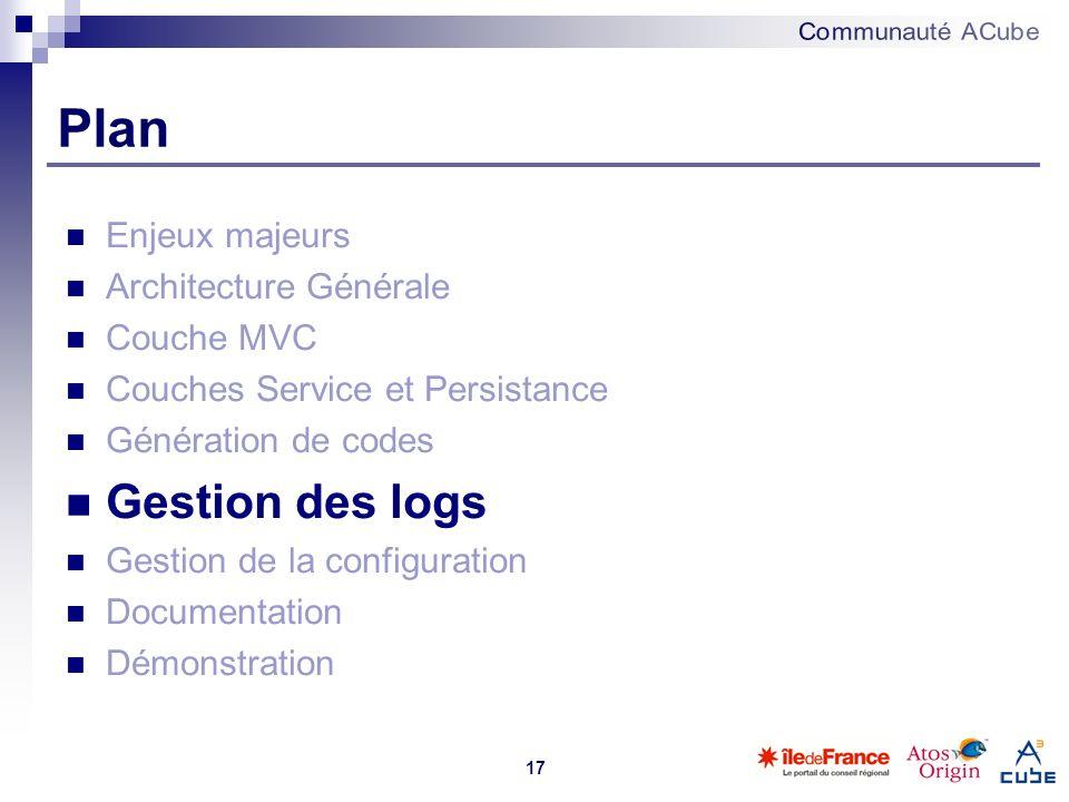17 Plan Enjeux majeurs Architecture Générale Couche MVC Couches Service et Persistance Génération de codes Gestion des logs Gestion de la configuratio