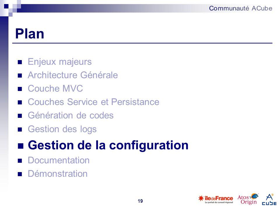 19 Plan Enjeux majeurs Architecture Générale Couche MVC Couches Service et Persistance Génération de codes Gestion des logs Gestion de la configuratio