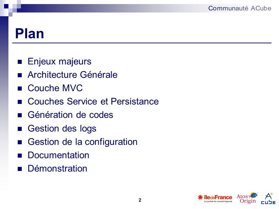 2 Plan Enjeux majeurs Architecture Générale Couche MVC Couches Service et Persistance Génération de codes Gestion des logs Gestion de la configuration