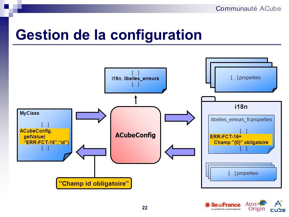 22 i18n libelles_erreurs_fr.properties […] Framework.properties […].properties MyClass […] ACubeConfig. getValue( ERR-FCT-16,id) ACubeConfig ERR-FCT-1