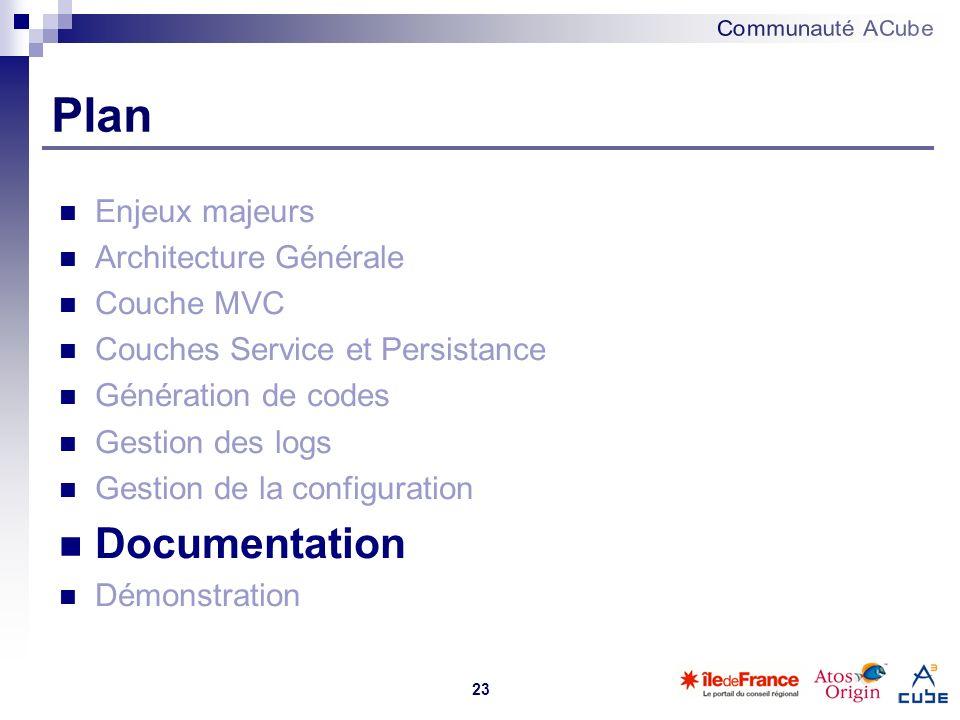 23 Plan Enjeux majeurs Architecture Générale Couche MVC Couches Service et Persistance Génération de codes Gestion des logs Gestion de la configuratio