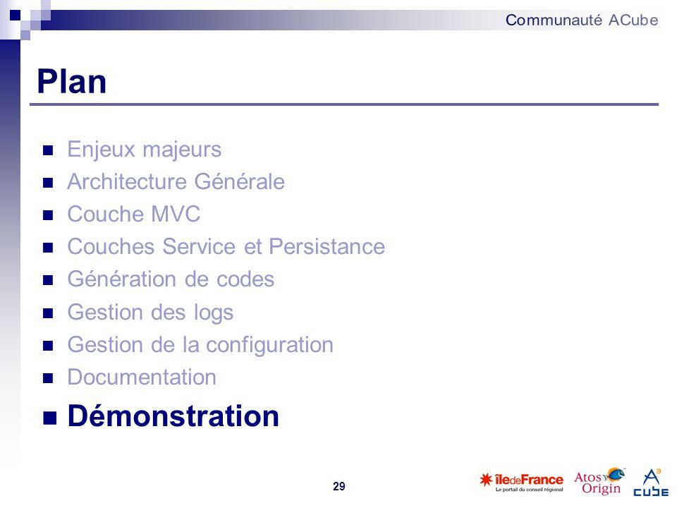 29 Plan Enjeux majeurs Architecture Générale Couche MVC Couches Service et Persistance Génération de codes Gestion des logs Gestion de la configuratio