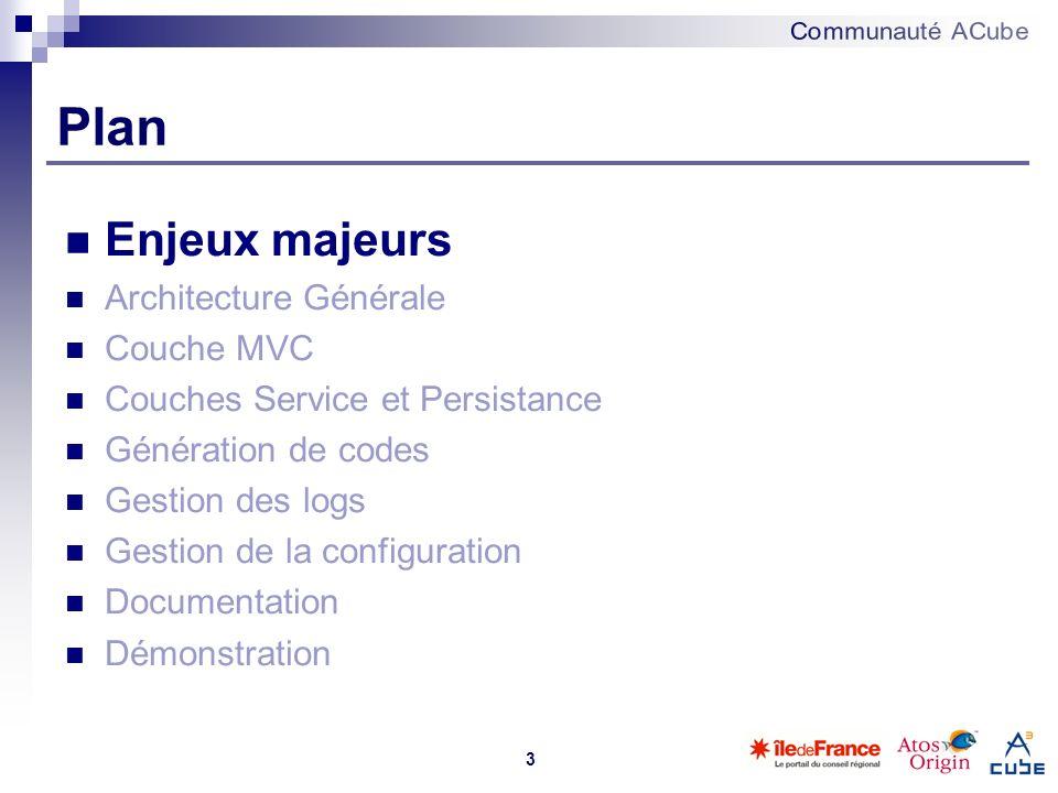3 Plan Enjeux majeurs Architecture Générale Couche MVC Couches Service et Persistance Génération de codes Gestion des logs Gestion de la configuration