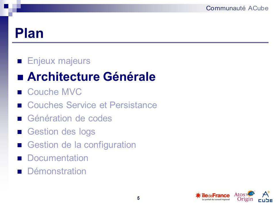 5 Plan Enjeux majeurs Architecture Générale Couche MVC Couches Service et Persistance Génération de codes Gestion des logs Gestion de la configuration