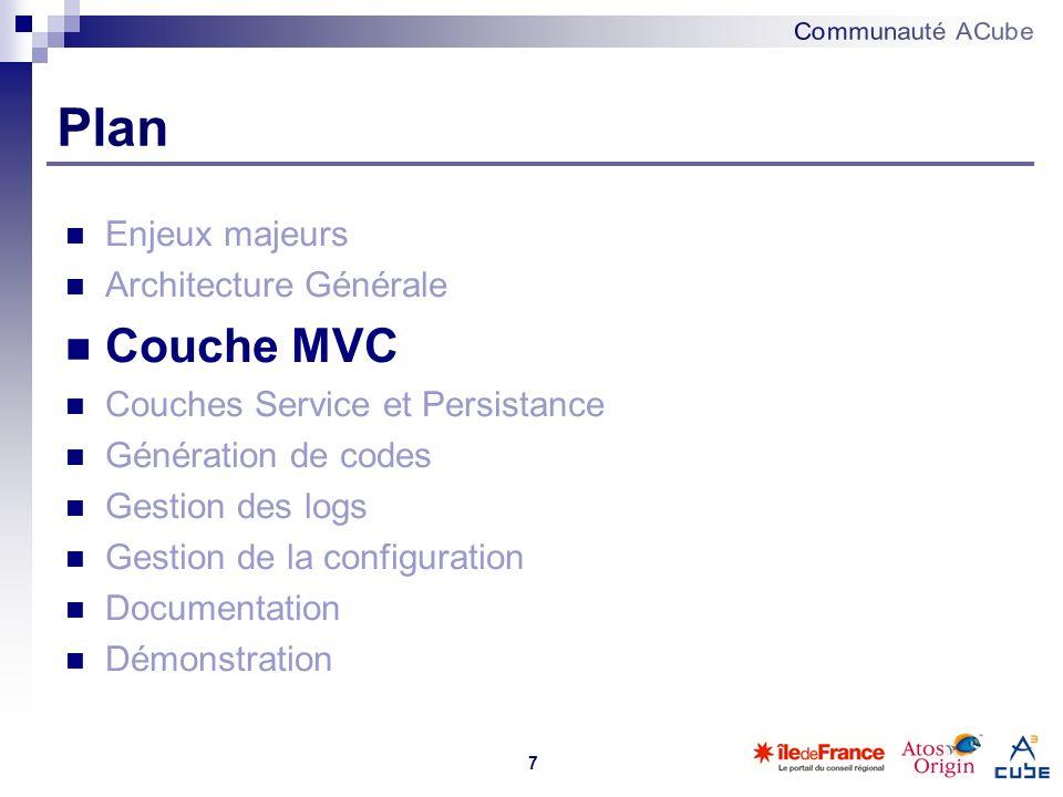7 Plan Enjeux majeurs Architecture Générale Couche MVC Couches Service et Persistance Génération de codes Gestion des logs Gestion de la configuration