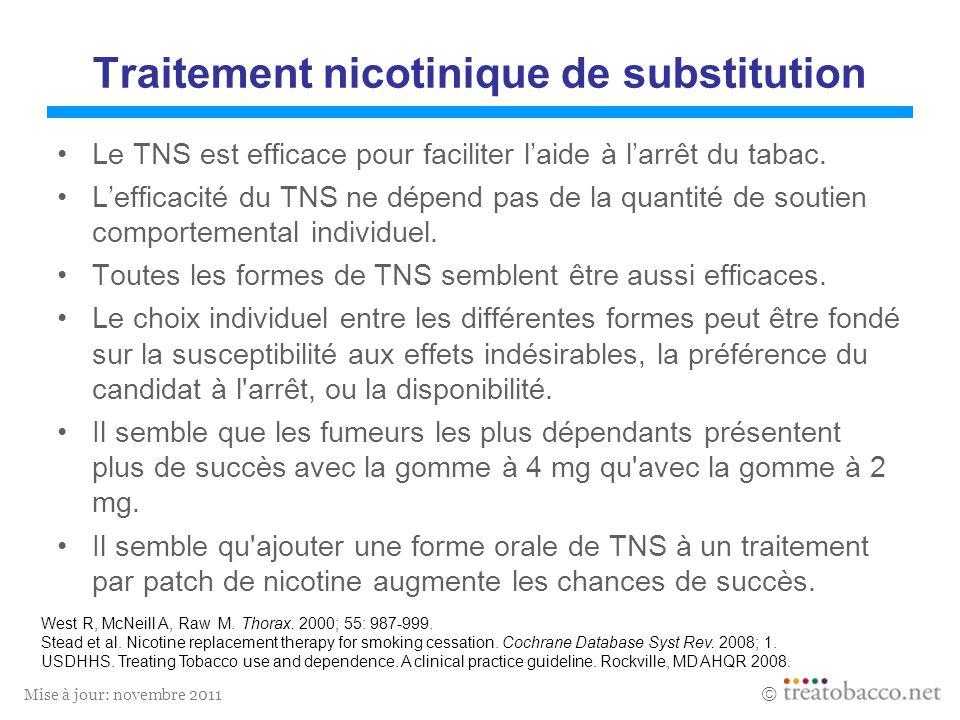 Mise à jour: novembre 2011 Traitement nicotinique de substitution Le TNS est efficace pour faciliter laide à larrêt du tabac. Lefficacité du TNS ne dé