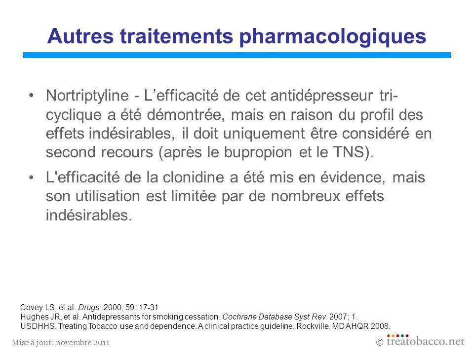 Mise à jour: novembre 2011 Autres traitements pharmacologiques Nortriptyline - Lefficacité de cet antidépresseur tri- cyclique a été démontrée, mais e