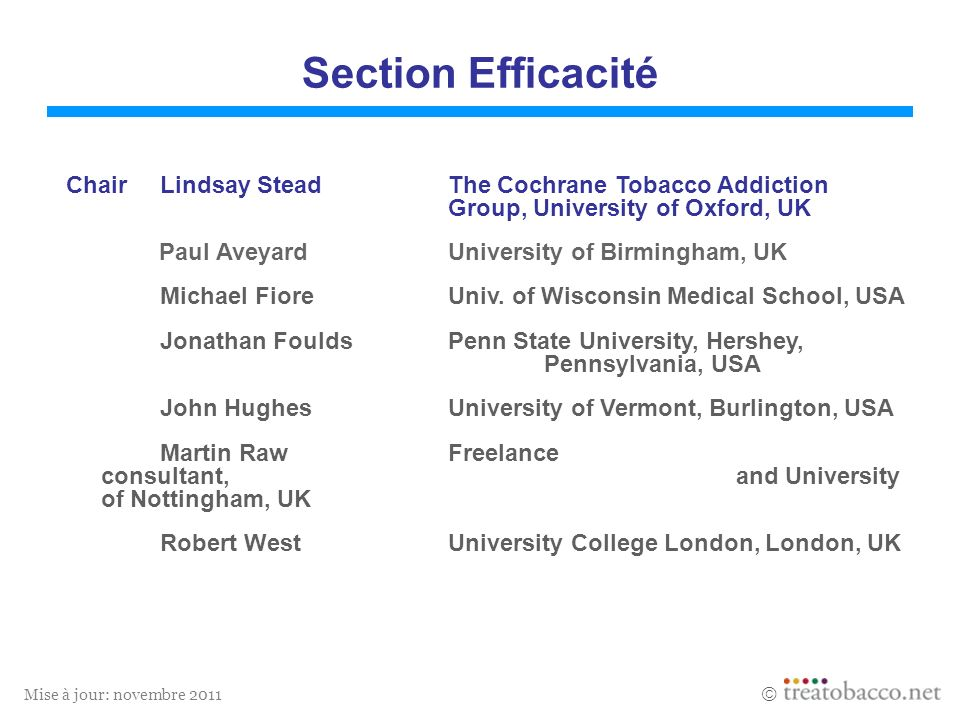 Mise à jour: novembre 2011 Section Efficacité ChairLindsay SteadThe Cochrane Tobacco Addiction Group, University of Oxford, UK Paul AveyardUniversity
