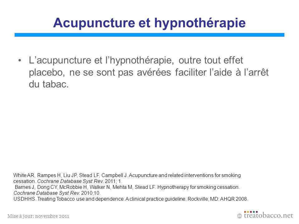 Mise à jour: novembre 2011 Acupuncture et hypnothérapie Lacupuncture et lhypnothérapie, outre tout effet placebo, ne se sont pas avérées faciliter lai
