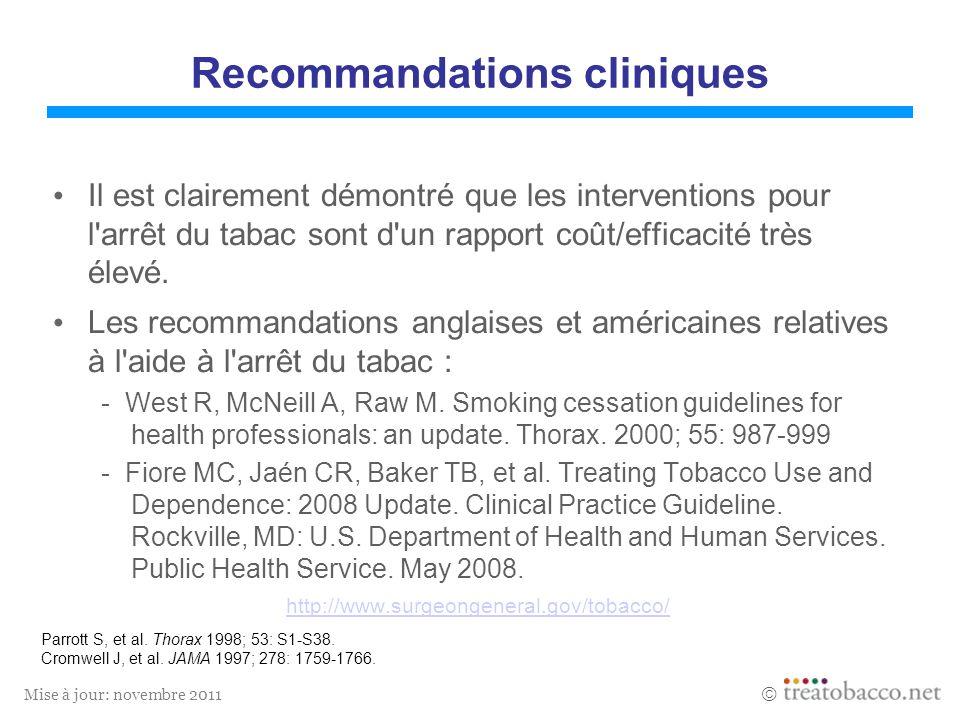 Mise à jour: novembre 2011 Parrott S, et al. Thorax 1998; 53: S1-S38. Cromwell J, et al. JAMA 1997; 278: 1759-1766. Recommandations cliniques Il est c