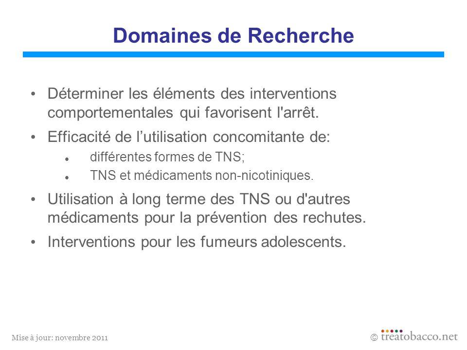 Mise à jour: novembre 2011 Domaines de Recherche Déterminer les éléments des interventions comportementales qui favorisent l'arrêt. Efficacité de luti