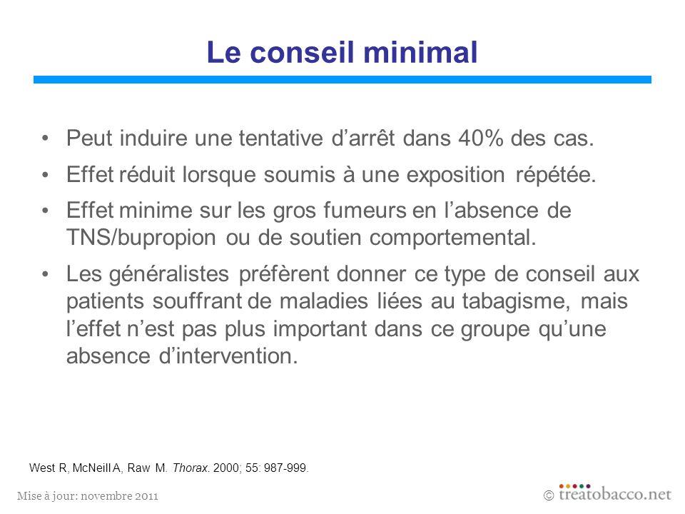Mise à jour: novembre 2011 Le conseil minimal Peut induire une tentative darrêt dans 40% des cas. Effet réduit lorsque soumis à une exposition répétée