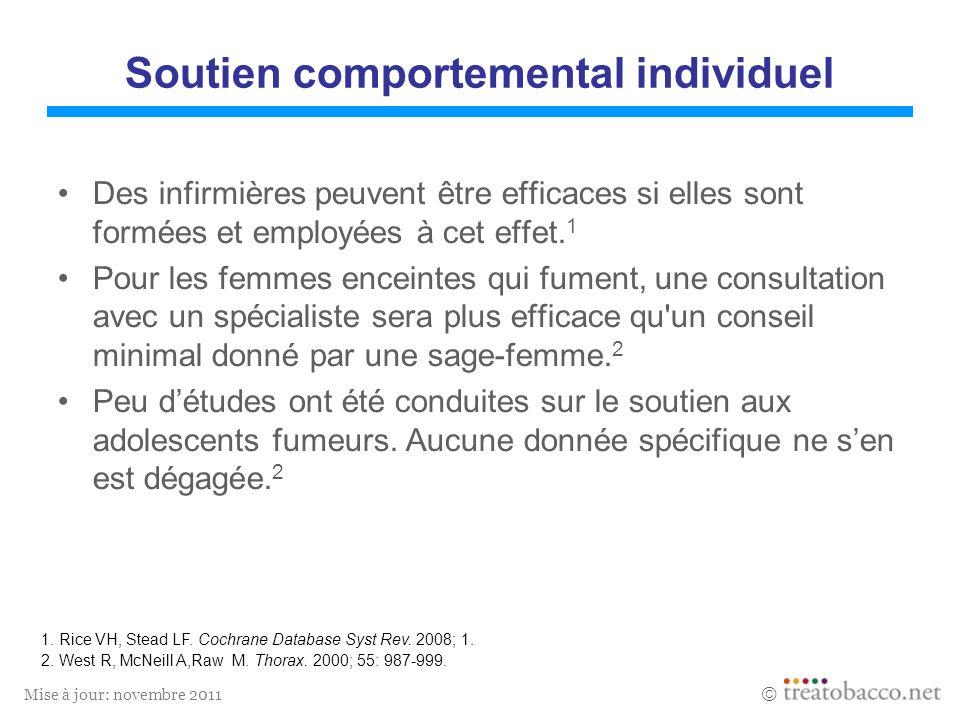 Mise à jour: novembre 2011 Soutien comportemental individuel Des infirmières peuvent être efficaces si elles sont formées et employées à cet effet. 1