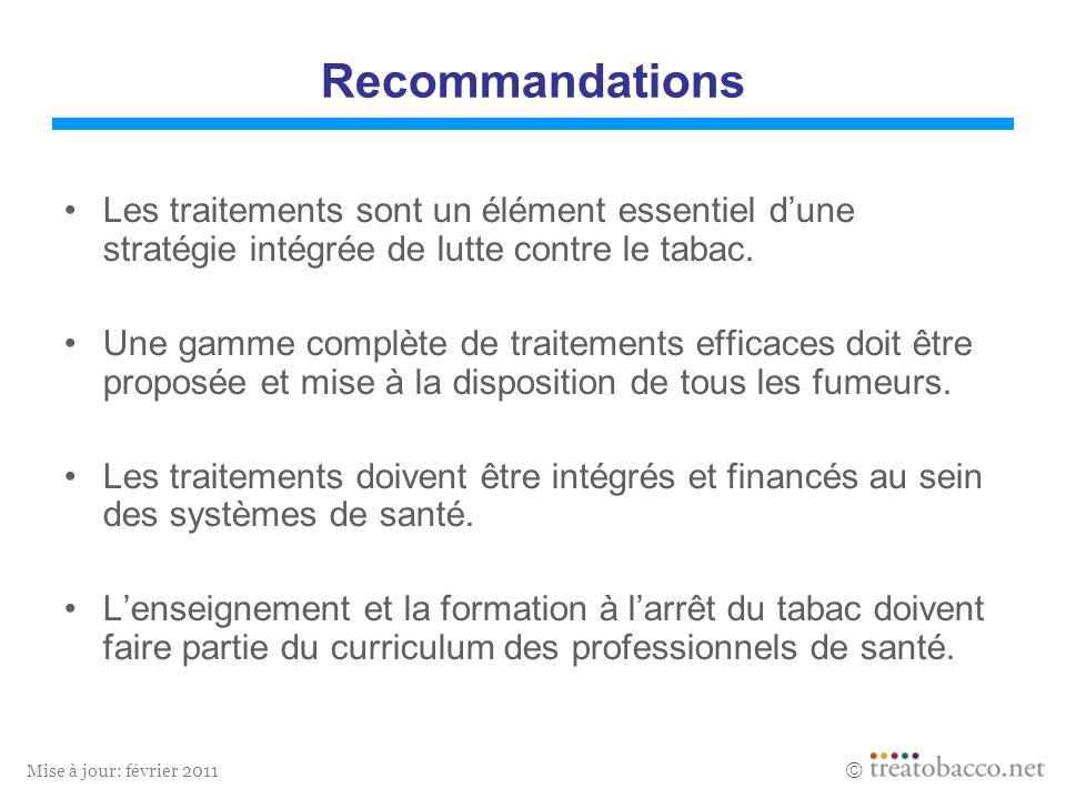 Mise à jour: février 2011 Recommandations Les traitements sont un élément essentiel dune stratégie intégrée de lutte contre le tabac. Une gamme complè