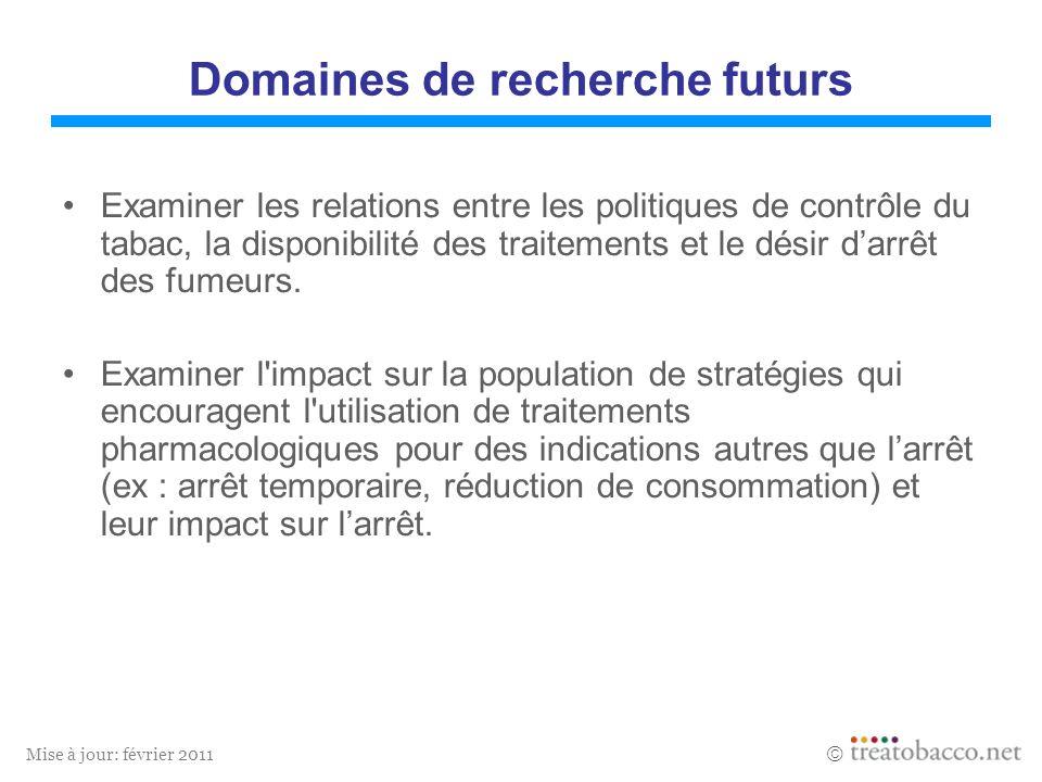 Mise à jour: février 2011 Domaines de recherche futurs Examiner les relations entre les politiques de contrôle du tabac, la disponibilité des traiteme