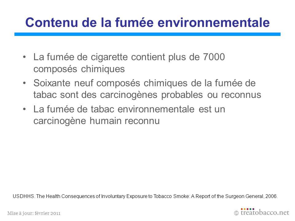 Mise à jour: février 2011 Contenu de la fumée environnementale La fumée de cigarette contient plus de 7000 composés chimiques Soixante neuf composés c