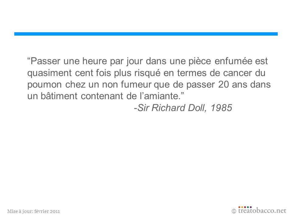 Mise à jour: février 2011 Passer une heure par jour dans une pièce enfumée est quasiment cent fois plus risqué en termes de cancer du poumon chez un n