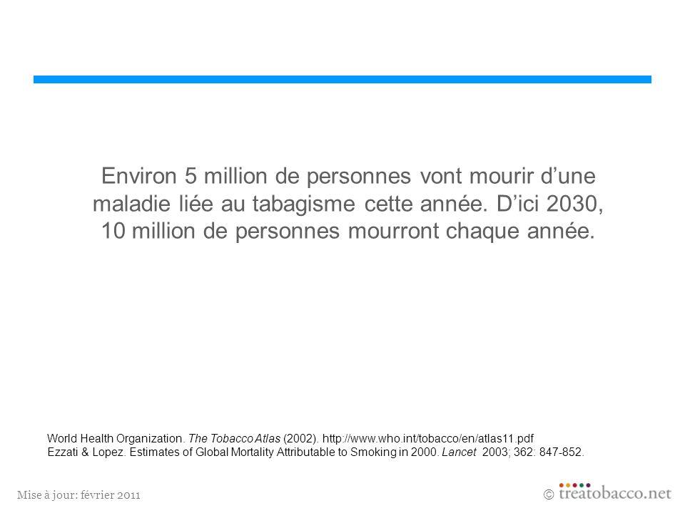 Mise à jour: février 2011 Environ 5 million de personnes vont mourir dune maladie liée au tabagisme cette année. Dici 2030, 10 million de personnes mo