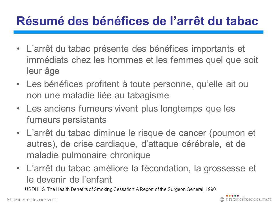 Mise à jour: février 2011 Résumé des bénéfices de larrêt du tabac Larrêt du tabac présente des bénéfices importants et immédiats chez les hommes et le