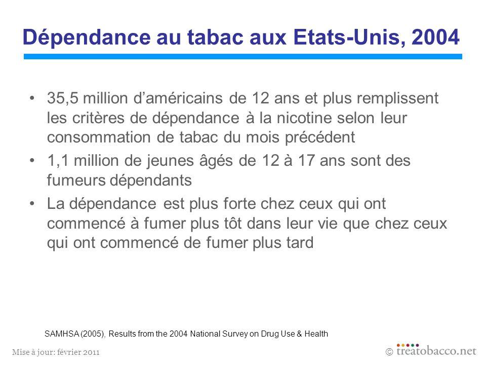 Mise à jour: février 2011 Dépendance au tabac aux Etats-Unis, 2004 35,5 million daméricains de 12 ans et plus remplissent les critères de dépendance à