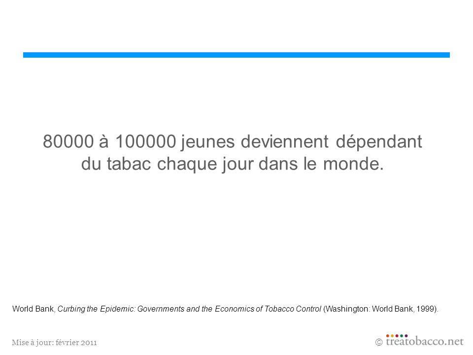 Mise à jour: février 2011 80000 à 100000 jeunes deviennent dépendant du tabac chaque jour dans le monde. World Bank, Curbing the Epidemic: Governments