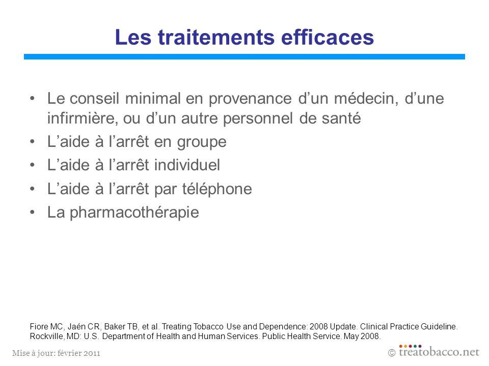 Mise à jour: février 2011 Les traitements efficaces Le conseil minimal en provenance dun médecin, dune infirmière, ou dun autre personnel de santé Lai