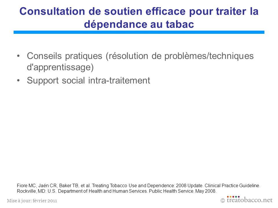 Mise à jour: février 2011 Consultation de soutien efficace pour traiter la dépendance au tabac Conseils pratiques (résolution de problèmes/techniques