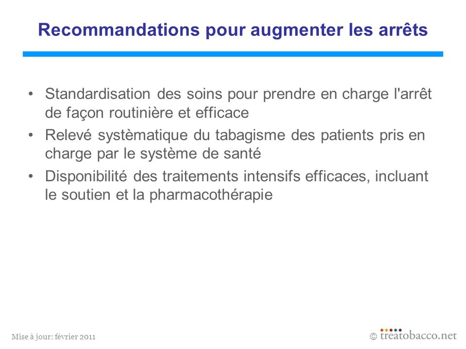 Mise à jour: février 2011 Standardisation des soins pour prendre en charge l'arrêt de façon routinière et efficace Relevé systèmatique du tabagisme de