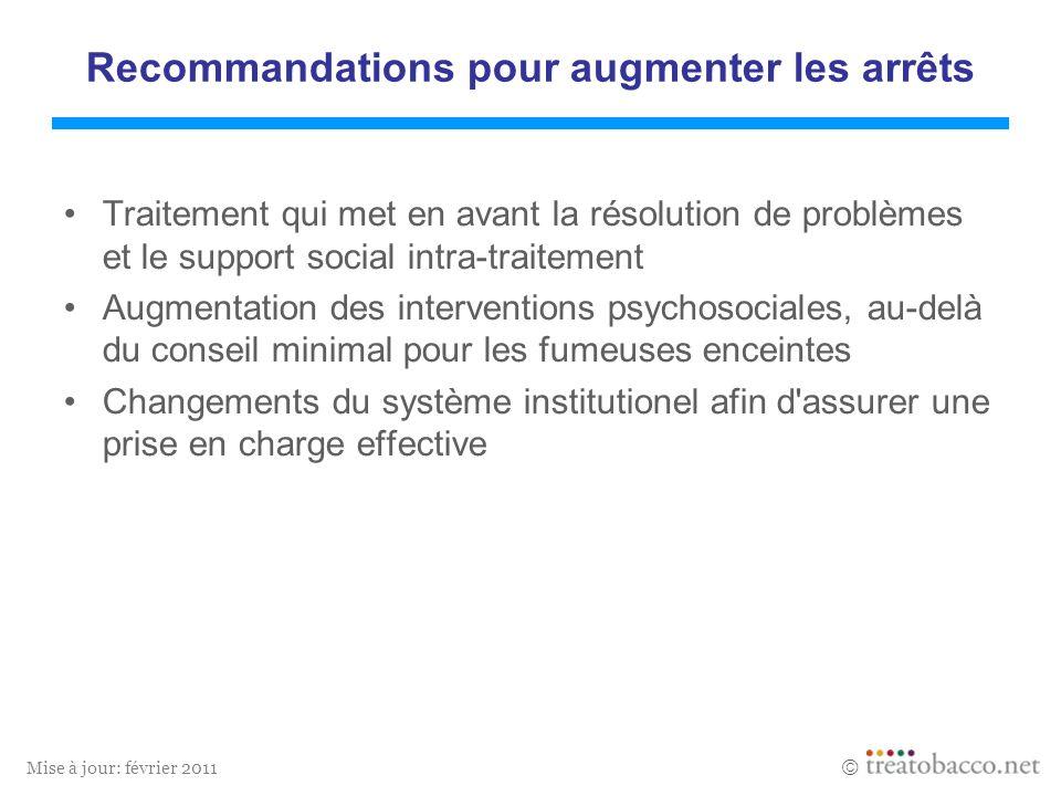 Mise à jour: février 2011 Recommandations pour augmenter les arrêts Traitement qui met en avant la résolution de problèmes et le support social intra-