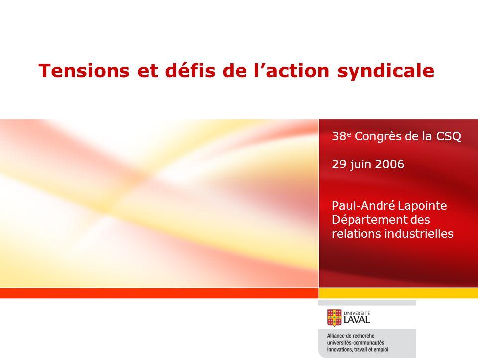 Tensions et défis de laction syndicale 38 e Congrès de la CSQ 29 juin 2006 Paul-André Lapointe Département des relations industrielles