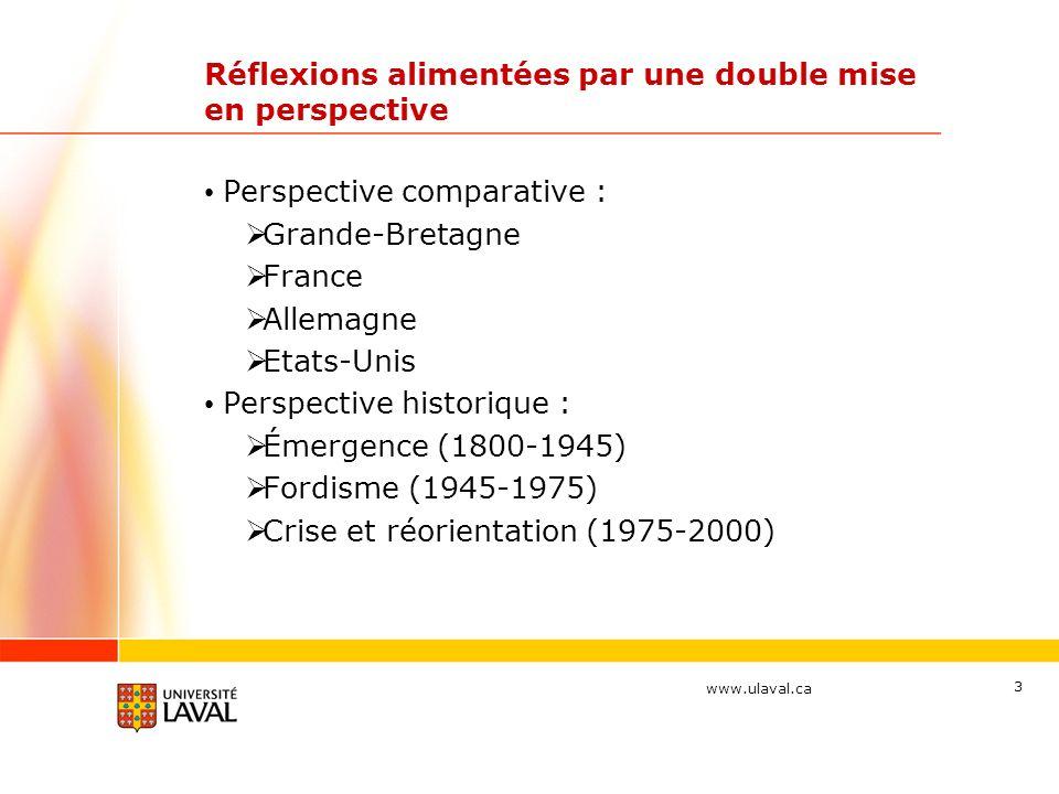 www.ulaval.ca 3 Réflexions alimentées par une double mise en perspective Perspective comparative : Grande-Bretagne France Allemagne Etats-Unis Perspective historique : Émergence (1800-1945) Fordisme (1945-1975) Crise et réorientation (1975-2000)