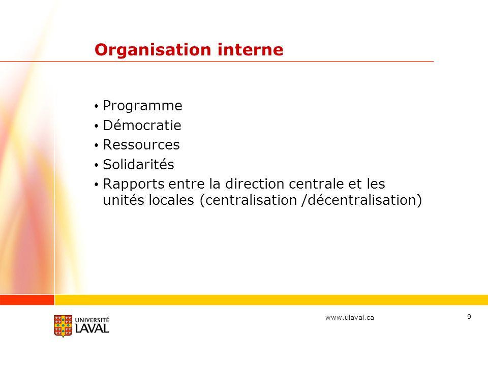 www.ulaval.ca 9 Organisation interne Programme Démocratie Ressources Solidarités Rapports entre la direction centrale et les unités locales (centralisation /décentralisation)