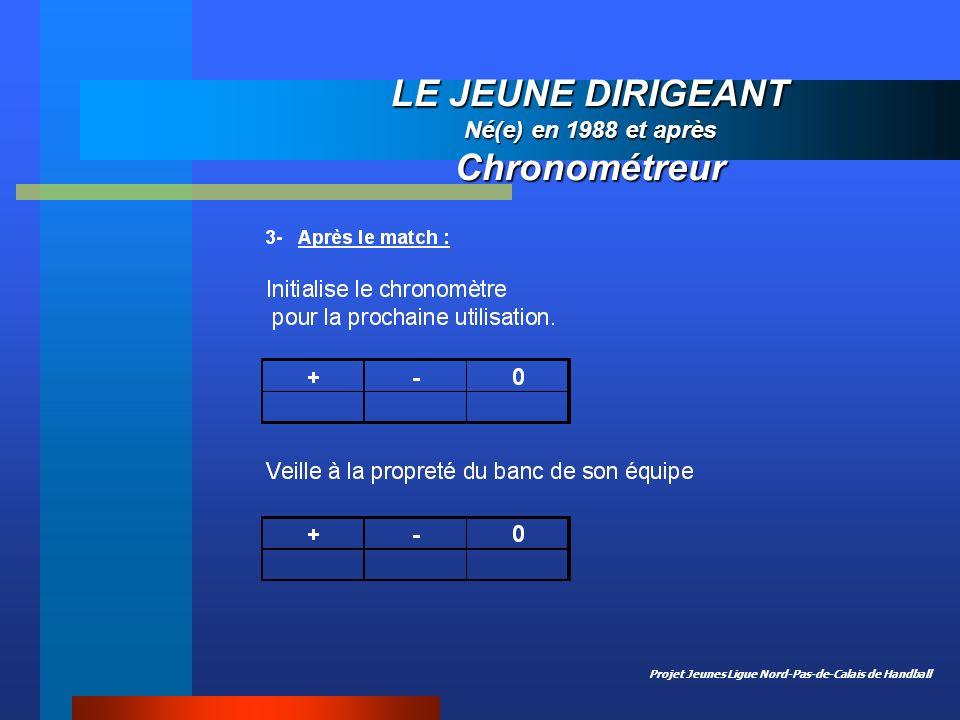 Projet Jeunes Ligue Nord-Pas-de-Calais de Handball LE JEUNE DIRIGEANT Né(e) en 1988 et après Chronométreur