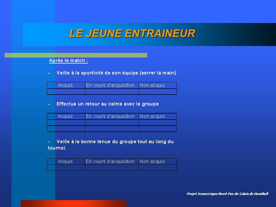 Projet Jeunes Ligue Nord-Pas-de-Calais de Handball LE JEUNE ENTRAINEUR