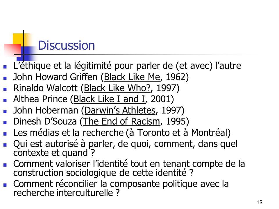 18 Discussion Léthique et la légitimité pour parler de (et avec) lautre John Howard Griffen (Black Like Me, 1962) Rinaldo Walcott (Black Like Who?, 1997) Althea Prince (Black Like I and I, 2001) John Hoberman (Darwins Athletes, 1997) Dinesh DSouza (The End of Racism, 1995) Les médias et la recherche (à Toronto et à Montréal) Qui est autorisé à parler, de quoi, comment, dans quel contexte et quand .