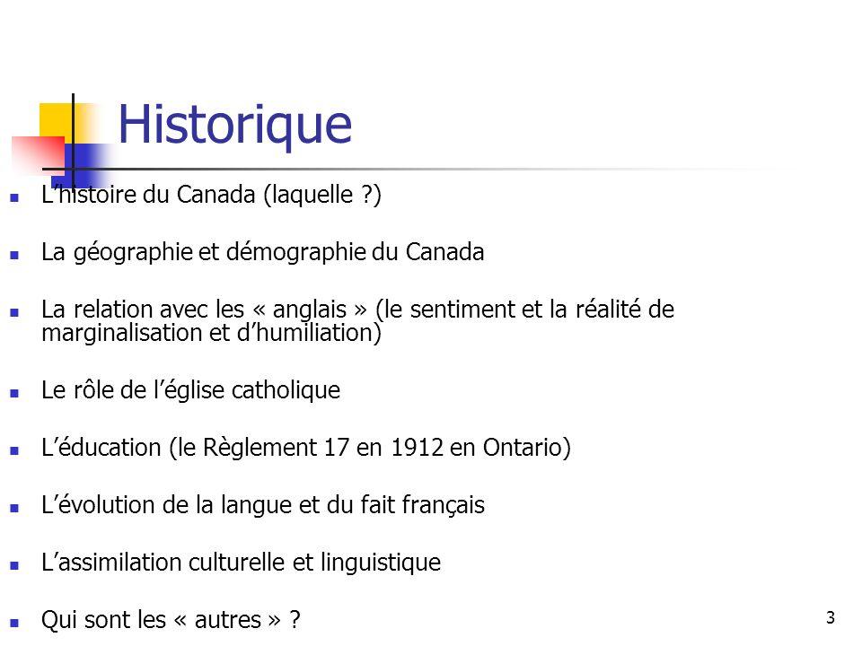 4 Quelques faits sur les histoire canadienne Des peuples autochtones ici depuis 10 000 à 20 000 ans Champlain est accompagné au Canada en 1605 par Mathieu de Costa, un homme dorigine africaine, qui agit comme interprète entre les Français et les Micmac 1628 : lachat du premier esclave au Québec, un garçon du Madagascar 1734 : Marie-Joseph Angélique, une esclave, dans une tentative de fuir lesclavage, soupçonnée davoir incendié plusieurs édifices à Montréal, est pendu Relations entre les Français et les peuples autochtones ; les Métis Les noirs sont au Canada depuis longtemps ; dautres groupes ont aussi marqué lhistoire canadienne, ce qui pourrait remettre en question la notion des « deux peuples fondateurs »